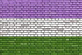 Genderqueer pride flag painted on brick wall poster