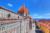 Florence, Italy. Cathedral of Saint Mary of the Flowers. Italian Cattedrale di Santa Maria del Fiore, Firenze  poster