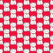 Maneki-neko cat. Seamless pattern with sitting hand drawn lucky cats. Japanese culture. Doodle drawing. Vector illustration - swatch inside poster