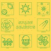 Set of Universe Infographics - Solar system, Planets comparison, Sun and Moon Facts, Space Junk made by man, Big Bang Theory, Galaxies Classification, Milky Way description. poster