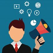 Digital marketing and ecommerce graphic design, vector illustration poster