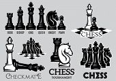 Set of emblems and signs for the chess tournament poster