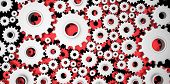 silver and red mechanical 3D manufacturing metal gears cog cogs on black background poster