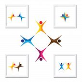 vector logo icons of people together - sign of unity partnership leadership community engagement interaction teamwork team aerobics kids yoga dancing exercise fun time poster