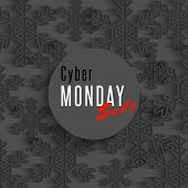 Cyber monday sale poster winter offer advertising marketing banner dark snowflakes flyer shop background poster
