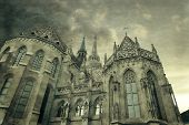 Budapest Hungary. Matthias or Parish Church of Our Lady Mary was built in 13th century now in Neo-Gothic architecture style landmark of hungarian country. Photo in old color image style. poster