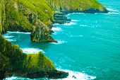 Irish landscape. Coastline atlantic ocean rocky coast scenery. County Cork Ireland Europe. Beauty in nature. poster