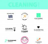 Vector collection of flat logo for cleaning company. Clearing service insignia. Cleaning industry flat icons. poster