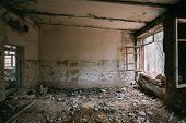 Abandoned Building Interior In Chernobyl Zone. Chornobyl Disasters poster