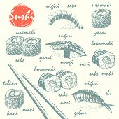 Hand drawn sketch of sushi roll sushimi and masked chopsticks. Asian food vector illustration. Japanese food menu background. poster