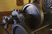 Close-up of an old lathe with belt drive from the early 1900 in an old factory. Filters applied. poster