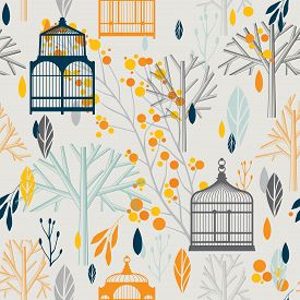 Autumn pattern with vintage birdcages in retro style.