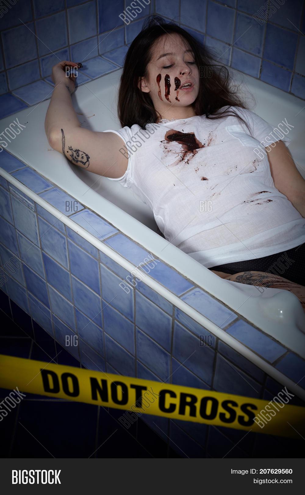 Young Woman Lying Dead Bath Tub Image & Photo | Bigstock