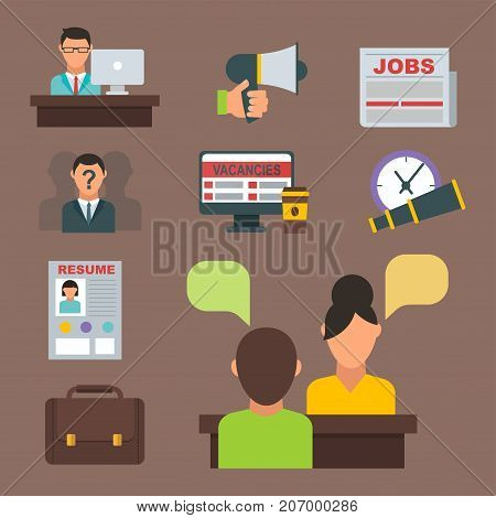 Vector job search icon set computer office concept human recruitment employment work team meeting manager. Interview employee resources career strategy set.