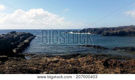 Empty old marina in Los Cocoteros / Guatiza, Lanzarote, Canary Islands, Spain