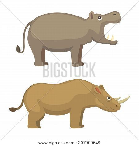 Cartoon funny rhinoceros and hippo vector illustration.