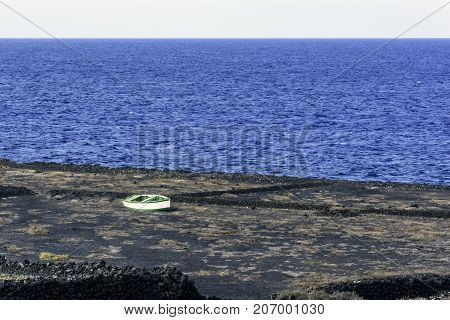 Empty boat on old salt production field / Los Cocoteros, Guatiza, Lanzarote, Canary Islands, Spain