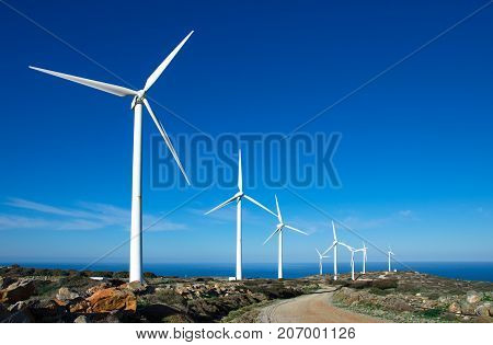 Wind turbines at a wind farm, Crete, Greece