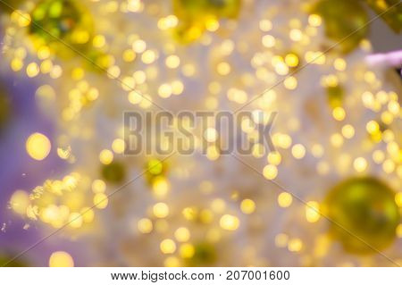 Blur - bokeh Decorative outdoor string lights hanging on tree in the garden at night time - decorative Christmas lights - happy new year  2018