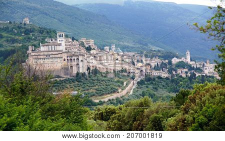 The hillside city of Assisi, Italy entering from the north.