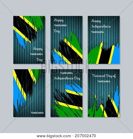 Tanzania Patriotic Cards For National Day. Expressive Brush Stroke In National Flag Colors On Dark S