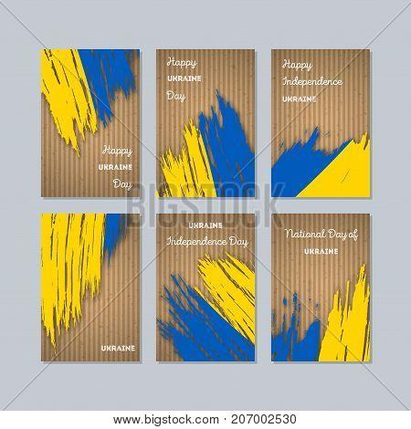 Ukraine Patriotic Cards For National Day. Expressive Brush Stroke In National Flag Colors On Kraft P