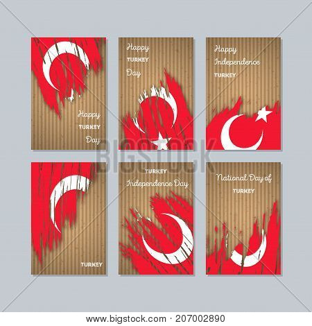 Turkey Patriotic Cards For National Day. Expressive Brush Stroke In National Flag Colors On Kraft Pa