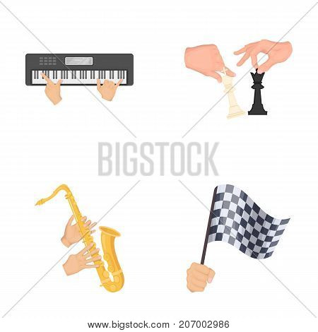 Playing on an electric musical instrument, manipulation with chess pieces and other  icon in cartoon style. playing on a gold saxophone, checkered flag of auto racing in hand icons in set collection.