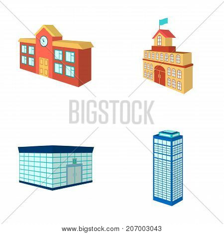 Bank office, skyscraper, city hall building, college building. Architectural and structure set collection icons in cartoon style vector symbol stock illustration .
