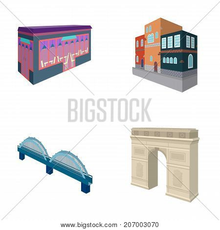 Arc de Triomphe in Paris, Reinforced bridge, cafe building, House in Scandinavian style. Architectural and building set collection icons in cartoon style vector symbol stock illustration .