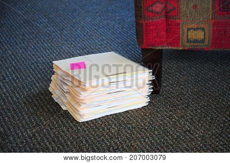 Office files on the floor inside a business.