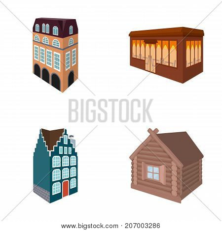 Residential house in English style, a cottage with stained-glass windows, a cafe building, a wooden hut. Architectura and building set collection icons in cartoon style vector symbol stock illustration .
