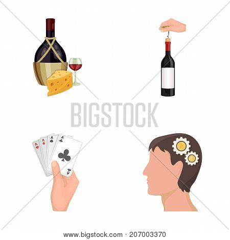 Bottle, a glass of wine and cheese, clogging with a corkscrew and other  icon in cartoon style. A combination of cards in hand, a person's head and an idea generator icons in set collection.
