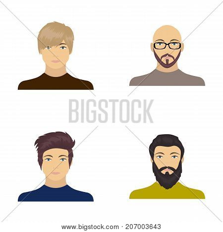 The face of a Bald man with glasses and a beard, a bearded man, the appearance of a guy with a hairdo. Face and appearance set collection icons in cartoon style vector symbol stock illustration .