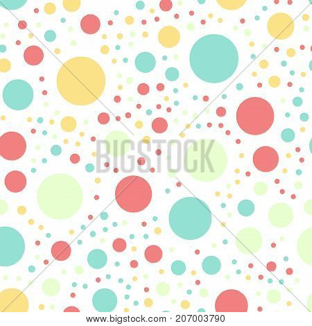 Colorful Polka Dots Seamless Pattern On White 16 Background. Terrific Classic Colorful Polka Dots Te