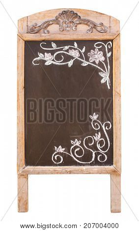Wooden sidewalk sign with blank black menu board with floral ornament, drawn in chalk. Isolated on white background