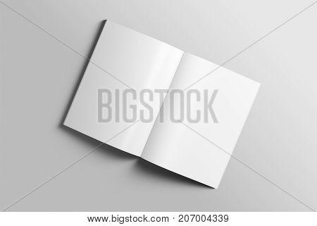 Blank A4 photorealistic brochure mockup on light grey background, 3d Illustration.
