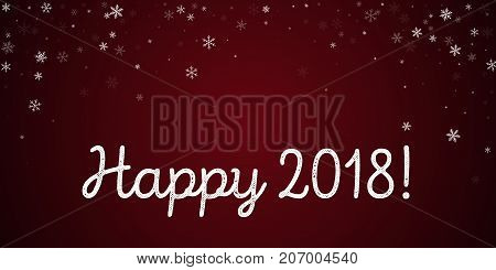 Happy 2018 Greeting Card. Sparse Snowfall Background. Sparse Snowfall On Red Background. Pleasing Ve