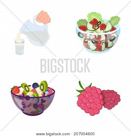 Fruit, vegetable salad and other types of . Food set collection icons in cartoon style vector symbol stock illustration .