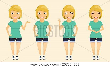 Young attractive blond girl expresses different emotions. Positive emotions. Smile, wink, self-confident, holding her stomach from laughter. In flat style. Cartoon.