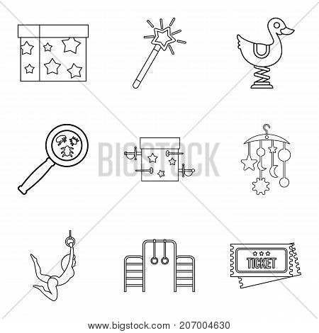 Supervision of the child icons set. Outline set of 9 supervision of the child vector icons for web isolated on white background