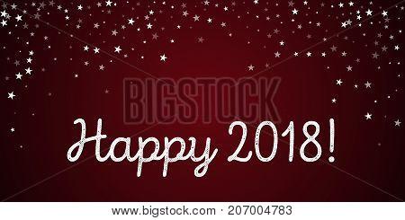 Happy 2018 Greeting Card. Random Falling Stars Background. Random Falling Stars On Red Background. P