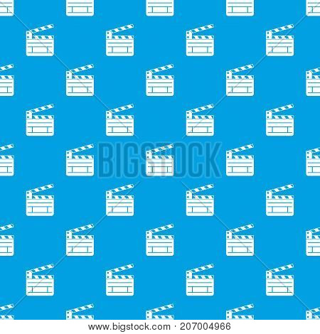 Clapperboard pattern repeat seamless in blue color for any design. Vector geometric illustration