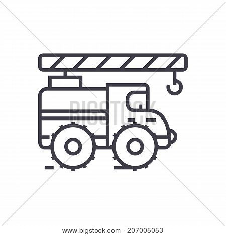 Crane arm car vector line icon, sign, illustration on white background, editable strokes