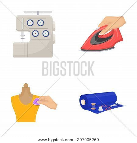 Electric sewing machine, iron for ironing, marking with chalk clothes, roll of fabric and other equipment. Sewing and equipment set collection icons in cartoon style vector symbol stock illustration .