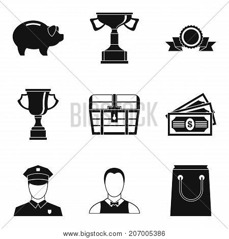 Compensation icons set. Simple set of 9 compensation vector icons for web isolated on white background