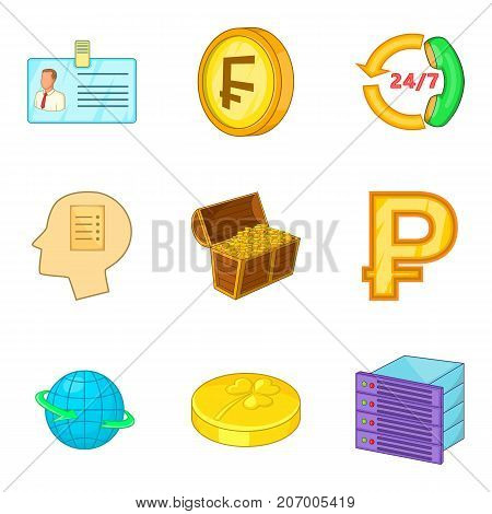 Thrift icons set. Cartoon set of 9 thrift vector icons for web isolated on white background