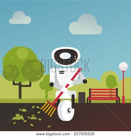 Domestic robot raking fall leaves in the garden with a broom in hand. Household robot futuristic concept illustration vector.