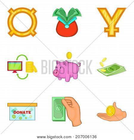 Economy icons set. Cartoon set of 9 economy vector icons for web isolated on white background