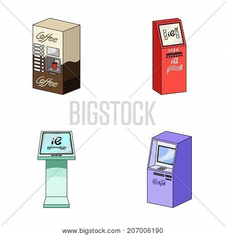 Coffee machine, ATM, information terminal. Terminals set collection icons in cartoon style isometric vector symbol stock illustration .